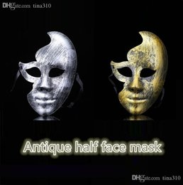 plastic horror UK - New hot sale Creative horror antique plastic face party for adult masks Antique half face mask T4H0252