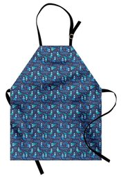 cute aprons Australia - Nautical Apron Cute Baby Seals with Florally Ornamented Bodies Swimming in the Sea with Fishes Kitchen Bib Apron for Cooking