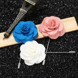 $enCountryForm.capitalKeyWord NZ - Lapel flower camellia handmake boutonniere brooch pin men's accessories 16 colors button stick flower brooches for wedding party