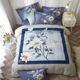 Brushed cotton Bedding set online shopping - Elegant Oriental Chinese Floral Bedding Set Queen King Size Bed Sheets Duvet Cover Winter Brushed Cotton Printed Home Textiles