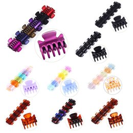Hair Jaw Clips Wholesale Australia - 12Pcs Set Women Girls 3cm Mini Geometric Crab Hair Claw Clips Plastic Colorful Assorted Mini Hairpin Jaw Clamp Strong Bite Force