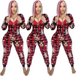 Chinese  New Women Long Sleeve Plaid Cartoon Print Zip Up Pencil Jumpsuits Skinny Legging Sexy Bodycon Jumpsuit casual rompers outfit manufacturers