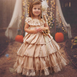 $enCountryForm.capitalKeyWord Australia - 2019 Champagne Wedding Flower Girls' Dresses with Lace Beaded Tiered Puffy A Line Princess Party Pageant Gowns