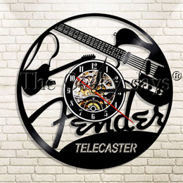 music wall hangings UK - 1Piece Telecaster Vinyl Record Wall Clock Guitar Rock N Roll Music instrument Modern Wall Hanging Decor For Guitar Lover Gift Y200407