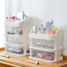 clear makeup drawers cosmetics NZ - Best Selling Large Desktop Clear Plastic Drawers Casket Big Plastic Storage Makeup Cosmetic Organizer For Decorations