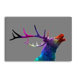 Art Canvas Prints Australia - YJ ART A colorful deer head Unframed Modern Canvas Wall Art for Home and Office Decoration, Animal ,Frame painting prints