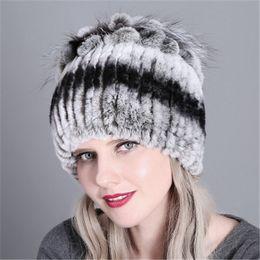 Rabbit Fur Scarves Caps Australia - Woman Ladies Fashional Real Rabbit Rex  fox Fur Hat Winter Cap Snow Wind Thick Beanie Hat Ski Cap