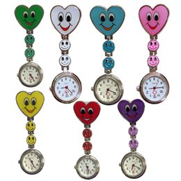 heart shaped glasses plastic Australia - Free DHL 7 Colors Nurse Watch On Brooch Hanging Pocket Watch Peach Heart Smile Face Nurse Heart-shaped Watches