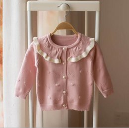 964f667d0f8 Girl kids clothing cardigan sweaer Ruffles collar candy Color design long  sleeve knitted sweater girl cardigan sweater