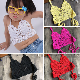 girls free shipping bra NZ - 2019 Fashion Children Crochet Bikini Top Sexy Hollow Out Halter V-neck Lace Tops Crochet Girls Baby Bikini Cotton Bra Free Ship