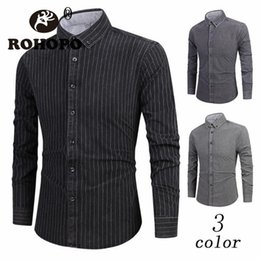 Wholesale 2019 Men Long Sleeve Shirt Japan Style Turn Down Collar Striped Casual Cardigan Breast Buttons Leisure Outwear New Fashion