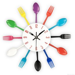 Colorful Kitchens Australia - Free Shipping Cutlery Design Wall Clock Metal Colorful Knife Fork Spoon Kitchen Clocks Creative Modern Home Decor Antique Style Wall Watch