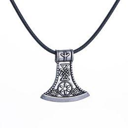 $enCountryForm.capitalKeyWord Australia - Viking Silver Axe Pendant Necklace Zinc Alloy Birthday Gift Tide Boy Men Necklaces Unique Vintage Jewelry Accessory