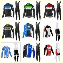 Wholesale GIANT team Cycling long Sleeves jersey bib pants sets price men s Quick Drying bike clothing with U52105
