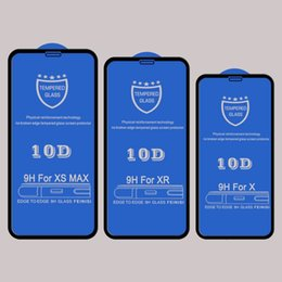 iphone screens Australia - 10D tempered glass screen protector for Iphone 6 7 7S 8 plus XR XS MAX curved full cover adhesive glue protective glass film