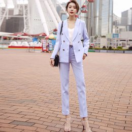 womens blazers for work Australia - Women's Pant suits for women Formal Work clothes suits office for women blazer set jacket womens set 2 pieces