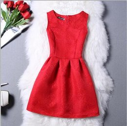 ladies red tutu skirt NZ - 2Summer new ladies dress tutu Princess solid color dress Sleeveless slim A-line skirt