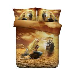 Ocean Bedding Australia - Duvet orange Mermaid Duvet Cover Set Kids Girls Ocean Sea Bed Comforter Cover 3 Piece Galaxy Bedding Set With 2 Pillow Shams Bedspread Cover