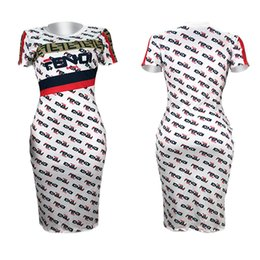 New oNe piece dress online shopping - Summer F Letter Printed Women Bodycon Dresses Short Sleeve Tshirt Dress Knee Length One Piece Dress Night Clubwear Fashion Skirts New C41501