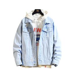 Chaqueta jeans online shopping - 2019 Mens Denim Jacket men Casual Bomber Jackets Men High Quality Man Vintage Jean Jacket coat Streetwear Chaqueta Hombre XL