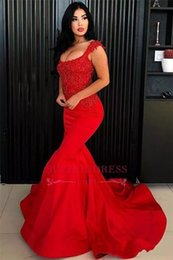 Strapless Sequin Red Dress Australia - 2019 New Fashion Red Mermaid Prom Dresses Sexy Spaghetti Satin Lace Sequin Beads Strapless Sleeveless Sweep Train Evening Gowns Arabic Dress