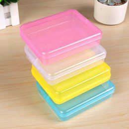 Transparent Cards Australia - Mini Plastic Transparent Storage Box With Lid 4 Color Small Clear Rectangle Collection Card Container Case Sundries Storage Boxes