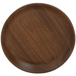 round kitchen sets Australia - ELEG-Black Walnut Round Wooden Western Dish Pizza Plates Coffee Dim Sum Restaurant Family Kitchen Tableware Set