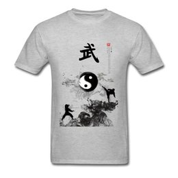 fbc87f372 2019 Yin Yang Kung Fu Chinese Traditional Water Ink Painting Men Grey and  White T-shirt Short Sleeve Cotton TShirt Unique Design