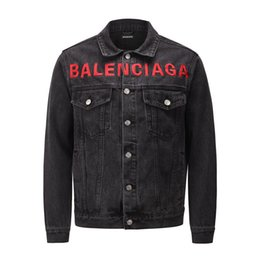famous outwear UK - Fashion Mens Jacket Mens Denim Jacket Famous Men Jacket High Quality Casual Coats Black Stylist Outwear Size S-XL