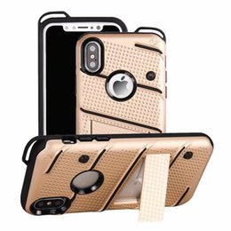 Wholesalers For Iphone Cases Australia - Hybrid Armor Case TPU PC Phone Holder For iPhone X XS Max 6 7 8 Plus Samsung Galaxy S8 S9 Plus Note 8