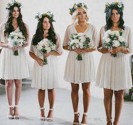 $enCountryForm.capitalKeyWord Australia - Cheap Summer Beach Bridesmaid Dresses Short Flow Chiffon Boho Wedding Party Dresses Wear Plus Size Short Maid of Honor Gowns