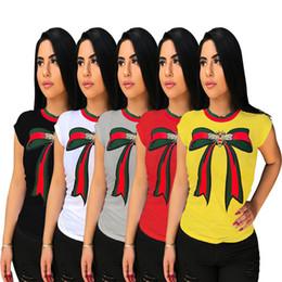 $enCountryForm.capitalKeyWord Australia - Summer Women T-shirt Short Sleeve Printed Bowknot T shirt Loose Round Collar Casual Tops Designer Applique Blouse Party Clothes Fashion