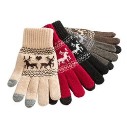 Wholesale Wool Printed elk Touch Screen Knitted Gloves for Women Men Winter Warm Touchable screen gloves for Mobile Phone Pad
