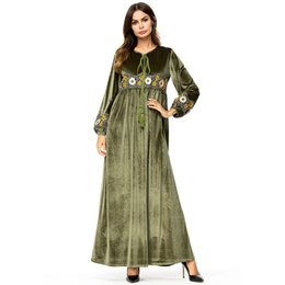d52b7d59102b Maxi Dresses Velvet Vintage Ethnic Floral Embroidery Women Long Dress High  waist Swing A Line Dress Army Green Casual