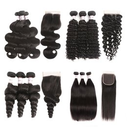 $enCountryForm.capitalKeyWord Australia - Brazilian Virgin Hair Bunldes With Lace Closure Straight Body Wave Loose Wave Deep Wave Kinky Curly Human Hair Weave Wefts With Closure