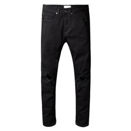 Acrylic fly online shopping - Fear Of God Mens Distressed Ripped Biker Jeans Slim Fit Motorcycle Biker Denim Jeans Hip Hop Designer Pants FOG Mens Jeans