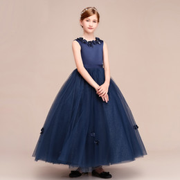 New desigN flower girl dresses online shopping - 2019 New Design Navy Blue Ball Gown Glitter Tulle Flower Girls Dresses Ankle Length With Beaded Flowers Zip Back