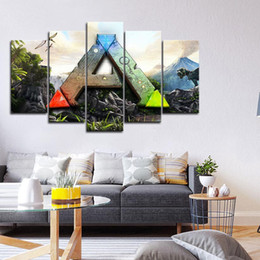 spray painting games Australia - Framed 5pcs Video Game ARK Survival Evolved Wall Art HD Print Canvas Painting Fashion Hanging Pictures Home Decor