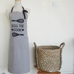 kitchen prints apron NZ - Freeshipping 70*75 cm 2018 Japanese style simple grey stripes printed cotton fabric Home Kitchen Apron for Kitchen