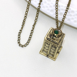 Tardis Pendant Australia - DOCTOR WHO Necklaces Tardis Telephone Booth Police Box Retro Pendant & Necklace Men Women Telephone Booth Necklace