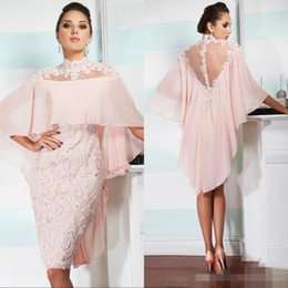 $enCountryForm.capitalKeyWord Canada - 2019 Pink Lace High Neck Mother Of Bride Dresses Short Sleeve Chiffon Knne Length Formal Evening Occasion Party Dresses Custom Made