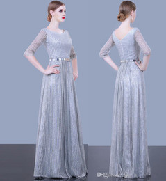 $enCountryForm.capitalKeyWord Australia - silver grey sequin tulle half sleeves A-line evening dresses 2019 new Pakistan sexy dresses evening wear sweep train evening gowns prom