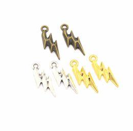 Make Jewellery Metal Australia - 2019 Lightning shape Metal alloy Jewelry Pendant Necklace Bracelet Pendant Jewellery Make DIY Retro alloy small Pendant