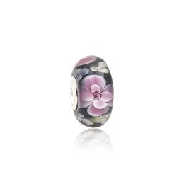 shine pink Canada - Shining Pink Flowers Black Murano Glass Beads S925 Silver Core Charms Fit Pandora Bracelets Necklace DIY Girl Jewelry Accessories PDZ111
