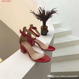 nude strips NZ - High-heeled sandals two slim translucent PVC strap sexy big Fashion strip Thick heel sandals Black red nude