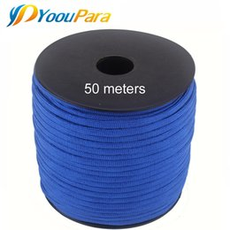 rope spools UK - 252 Colors 50 M Spools Paracord 550 Paracord Rope Type III 7 Stand Parachute Cord Outdoor Camping Survival Wind Rope Wholesale