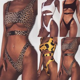 Wholesale bandeau push up bathing suits online – high cut bikini Buckle sexy swimsuit push up bathers Bandeau swimwear women bathing suit leopard micro bikini MMA1675