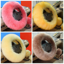 Wholesale 3Pcs set Soft Plush Car Wool Steering Wheel Cover Furry Fluffy Winter Long Plush Warm Car Accessory Car Interior Accessories
