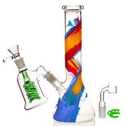 Glasses Prices Australia - Recycler bong glass smoking bong pipe water pipe bowl 14.4mm manufacturer price dab rig bongs oil rig With Banger hookah