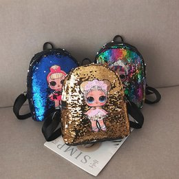 Wholesale Kids Sequin Backpacks PU Kawaii Cartoon Dolls Schoolbag Baby Girls Fashion Sequins Bags Double Shoulder Backpack Pack GGA2352